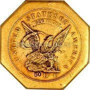USA $50 Fifty Dollars 1851 KM# 32.1a Dunbar & Company UNITED STATES OF AMERICA 887 THOUS 50 D C coin obverse