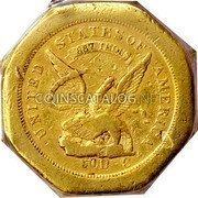 USA $50 Fifty Dollars 1851 KM# 31.3 Dunbar & Company UNITED STATES OF AMERICA 887 THOUS 50 D C coin obverse