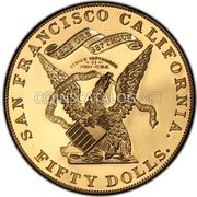 USA $50 Fifty Dollars 1855 KM# 34 Kellogg & Company SAN FRANCISCO CALIFORNIA. FIFTY DOLLS. 1309 GRS 887 THOUS STRUCK SEPTEMBER S. S. CENTRAL AMERICA GOLD C. H. S. coin reverse