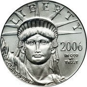 USA $50 Fifty Dollars Platinum American Eagle 2006 W Proof KM# 391 LIBERTY 2006 IN GOD WE TRUST E PLURIBUS UNUM coin obverse