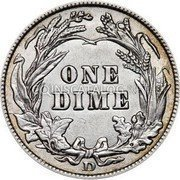 USA Dime Barber Dime 1908 D KM# 113 ONE DIME coin reverse