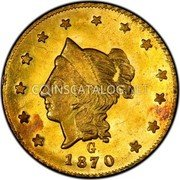 USA Dollar (Round) 1870 KM# 15.3 Small size Gold Coins G 1870/1871 coin obverse