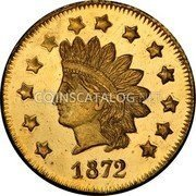 USA Dollar (Round) 1872 KM# 16 Small size Gold Coins 1872 coin obverse