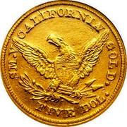 USA Five Dol. 1850 KM# 17 Baldwin & Company S.M.V CALIFORNIA GOLD. FIVE DOL. coin reverse