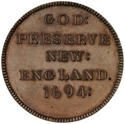 USA Halfpenny 1694 KM# Tn7 Elephant Tokens GOD: PRESERVE NEW: ENGLAND. 1694: coin reverse