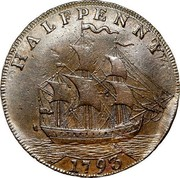 USA Halfpenny 1793 KM# Tn66.2 Washington Pieces HALFPENNY coin reverse