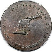 USA Kentucky Cent 1793 KM# Tn70.6 Kentucky Tokens * UNANIMITY IS THE STRENGTH OF SOCIETY OUR CAUSE IS JUST coin obverse
