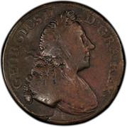 USA Penny 1727 KM# 14 Rosa Americana GEORGIUS II D. GRA. REX • coin obverse