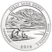 USA Quarter Dollar Great Sand Dunes National Park 2014 KM# 583 GREAT SAND DUNES COLORADO E PLURIBUS UNUM 2014 coin reverse