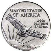 USA $10 American Eagle 1997 KM# 283 UNITED STATES OF AMERICA .9995 PLATINUM 1/10 OZ. $10 coin reverse
