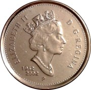 Canada 10 Cents (50th anniversary of the succession of Elizabeth II to the throne of England 1952-2002) KM# 447 ELIZABETH II D ∙ G ∙ REGINA 1952 2002 P coin obverse