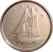 Canada 10 Cents (50th anniversary of the succession of Elizabeth II to the throne of England 1952-2002) KM# 447 10 CENTS CANADA H coin reverse