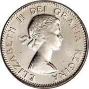 Canada 10 Cents Elizabeth II 1st portrait 1954 KM# 51 ELIZABETH II DEI GRATIA REGINA coin obverse