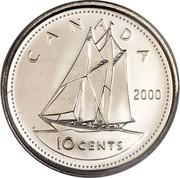 Canada 10 Cents Elizabeth II 3rd portrait 2000 P KM# 183b CANADA 10 CENTS H coin reverse