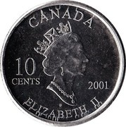 Canada 10 Cents International Year of the Volunteers 2001 P KM# 412 CANADA 10 CENTS 2001 P ELIZABETH II coin obverse