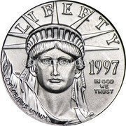 USA $10 Ten Dollars American Platinum Eagle 1997 KM# 283 LIBERTY DATE E PLURIBUS UNUM IN GOD WE TRUST coin obverse