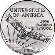 USA $10 Ten Dollars American Platinum Eagle 1997 KM# 283 UNITED STATES OF AMERICA .9995 PLATINUM 1/10 OZ. $10 coin reverse