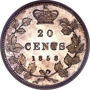 Canada 20 Cents Victoria 1858 KM# 4 20 CENTS 1858 coin reverse