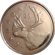 Canada 25 Cents 50th anniversary of the succession of Elizabeth II to the throne of England 1952-2002 1952-2002 P KM# 448 CANADA 25 CENTS coin reverse