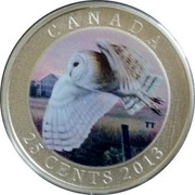 Canada 25 Cents Barn Owl 2013 Proof KM# 1443 CANADA TT 25 CENTS 2013 coin reverse