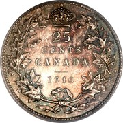 Canada 25 Cents Edward VII 1910 KM# 11a 25 CENTS CANADA 1910 coin reverse