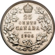 Canada 25 Cents (Edward VII) KM# 11 25 CENTS CANADA coin reverse