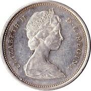 Canada 25 Cents Elizabeth II 2nd portrait 1965 KM# 62 ELIZABETH II D ∙ G ∙ REGINA coin obverse