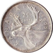 Canada 25 Cents Elizabeth II 2nd portrait 1965 KM# 62 CANADA 25 CENTS coin reverse