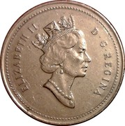 Canada 25 Cents Elizabeth II 3rd portrait 1993 KM# 184 ELIZABETH II D ∙ G ∙ REGINA coin obverse