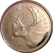 Canada 25 Cents Elizabeth II 4th portrait 2003 P KM# 493 CANADA 25 CENTS H coin reverse