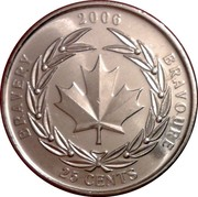 Canada 25 Cents Medal of Bravery 2006 Maple leaf KM# 629 25 CENTS CANADA 2006 BRAVERY BRAVOURE coin reverse