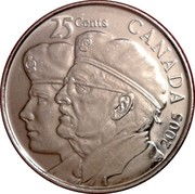 Canada 25 Cents Year of the Veteran 2005 P KM# 535 25 CENTS CANADA 2005 EG coin reverse