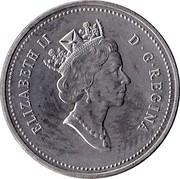 Canada 5 Cents Confederation (1992) KM# 205 ELIZABETH II D ∙ G ∙ REGINA coin obverse