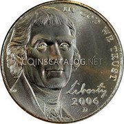 USA 5 Cents Jefferson large facing portrait – Enhanced Monticello Reverse 2006D KM# 381 IN GOD WE TRUST LIBERTY coin obverse