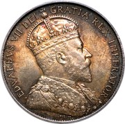 Canada 50 Cents Edward VII 1910 Edwardian leaves KM# 12a EDWARDVS VII DEI GRATIA REX IMPERATOR  coin obverse