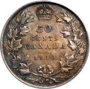 Canada 50 Cents Edward VII 1910 Edwardian leaves KM# 12a 50 CENTS CANADA  coin reverse