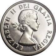 Canada 50 Cents Elizabeth II 1st portrait 1953 Large date, straps KM# 53 ELIZABETH II DEI GRATIA REGINA coin obverse