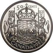 Canada 50 Cents Elizabeth II 1st portrait 1953 Large date, straps KM# 53 50 CENTS CANADA coin reverse
