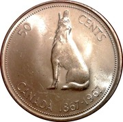 Canada 50 Cents Howling Wolf (1967) KM# 69 50 CENTS CANADA 1867-1967 coin reverse