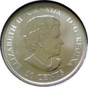Canada 50 Cents Montreal Canadiens 2010 KM# 940 ELIZABETH II CANADA D.G.REGINA 50 CENTS coin obverse