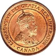 Canada Cent Edward VII 1907 H KM# 8 EDWARDVS VII DEI GRATIA REX IMPERATOR ∙ CANADA ∙ coin obverse