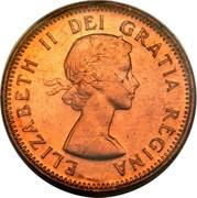 Canada Cent Elizabeth II 1st portrait 1953 With strap KM# 49 ELIZABETH II DEI GRATIA REGINA coin obverse