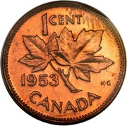 Canada Cent Elizabeth II 1st portrait 1953 With strap KM# 49 1 CENT CANADA K∙G coin reverse