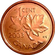 Canada Cent Elizabeth II 4th portrait 2003 P KM# 490a 1 CENT K.G. CANADA coin reverse