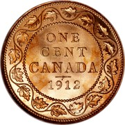 Canada Cent George V 1912 KM# 21 ONE CENT CANADA coin reverse