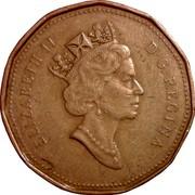 Canada Dollar Loon in Collector Card 1990 KM# 186 ELIZABETH II D ∙ G ∙ REGINA coin obverse