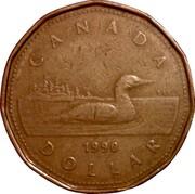 Canada Dollar Loon in Collector Card 1990 KM# 186 CANADA 1990 DOLLAR coin reverse
