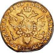 Russia Ducat 1751 МАР 13 (MAR. 13) C# 30.2 EMPIRE TRADE COINAGE coin reverse