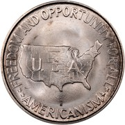 USA Half Dollar Booker T. Washington and George Washington Carver 1953 S KM# 200 ** FREEDOM AND OPPORTUNITY FOR ALL ** AMERICANISM ** U.S.A. coin reverse