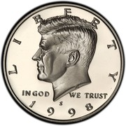 USA Half Dollar Kennedy 1998 S KM# A202b LIBERTY IN GOD WE TRUST coin obverse